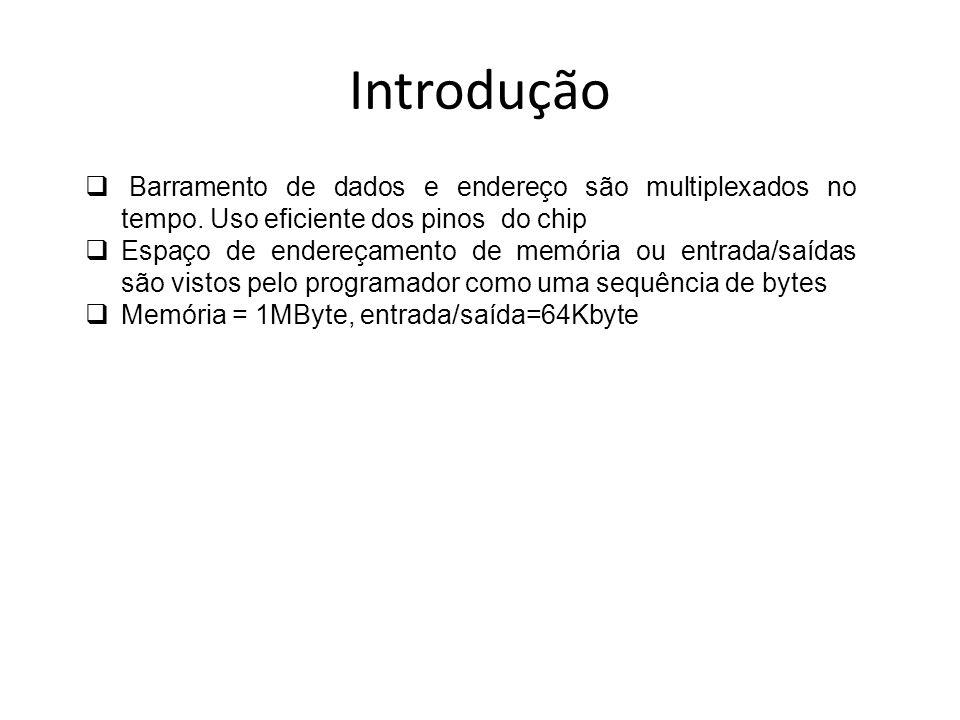 Ciclos de Barramento Há 4 tipos de ciclos de barramento: Leitura (memória, entrada/saída e busca de instruções) Escrita (memória e entrada/saída) Reconhecimento de interrupção Parado
