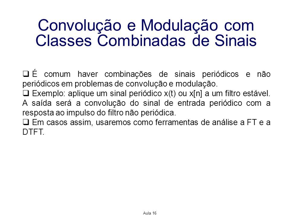 Aula 16 Convolução e Modulação com Classes Combinadas de Sinais É comum haver combinações de sinais periódicos e não periódicos em problemas de convol
