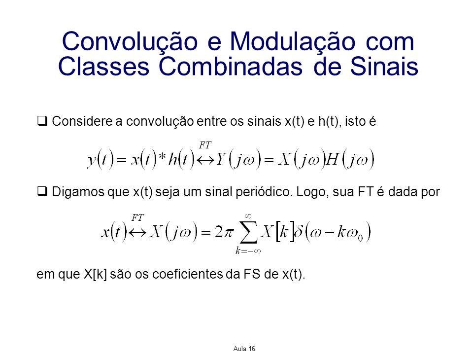 Aula 16 Convolução e Modulação com Classes Combinadas de Sinais Considere a convolução entre os sinais x(t) e h(t), isto é Digamos que x(t) seja um si