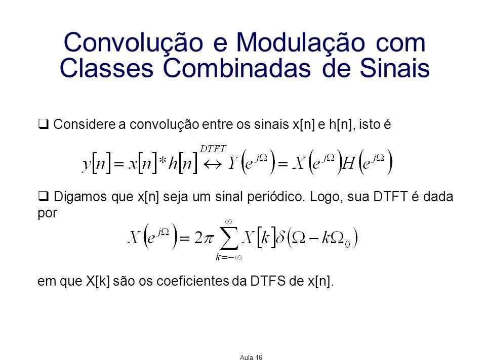 Aula 16 Convolução e Modulação com Classes Combinadas de Sinais Considere a convolução entre os sinais x[n] e h[n], isto é Digamos que x[n] seja um si