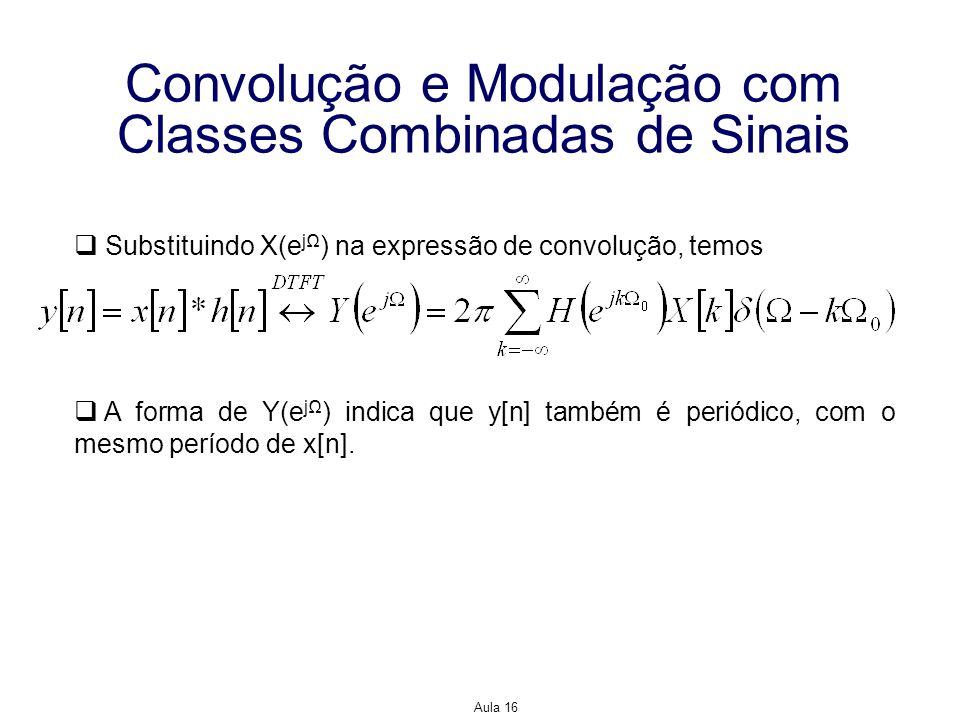 Aula 16 Convolução e Modulação com Classes Combinadas de Sinais Substituindo X(e j ) na expressão de convolução, temos A forma de Y(e j ) indica que y