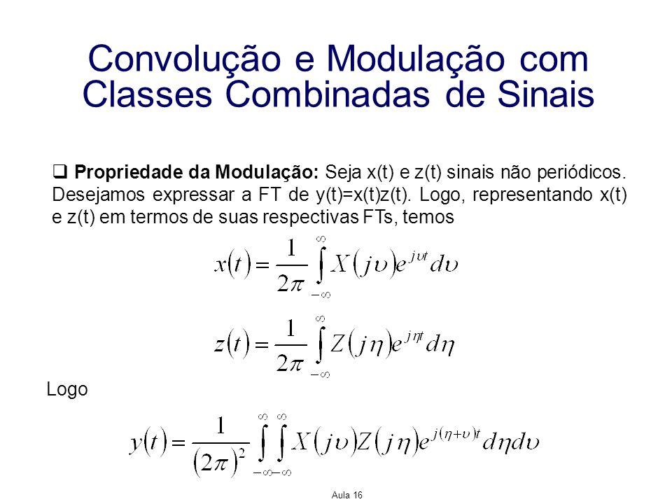 Aula 16 Convolução e Modulação com Classes Combinadas de Sinais Propriedade da Modulação: Seja x(t) e z(t) sinais não periódicos. Desejamos expressar