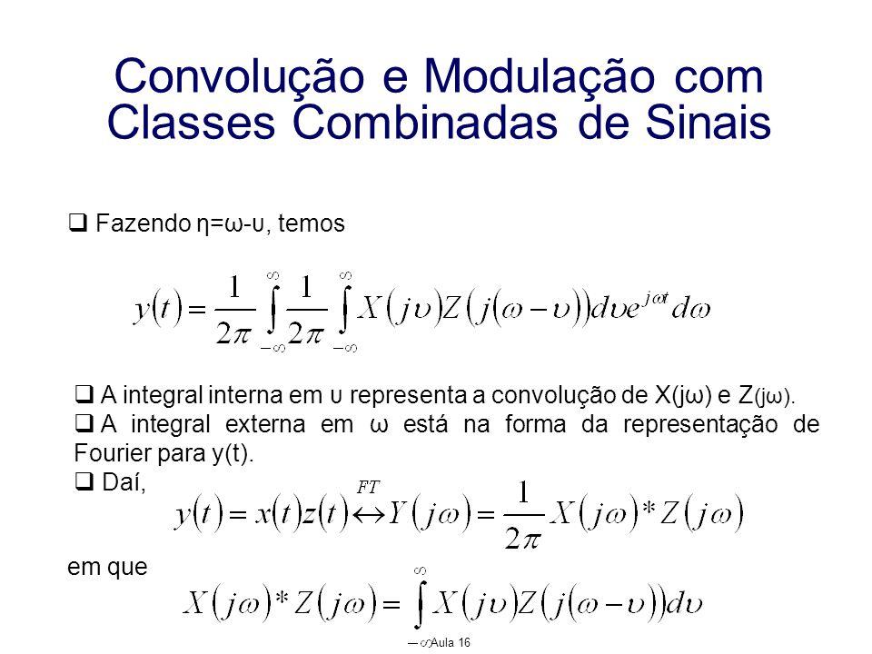 Aula 16 Convolução e Modulação com Classes Combinadas de Sinais Fazendo η=ω-υ, temos A integral interna em υ representa a convolução de X(jω) e Z (jω)