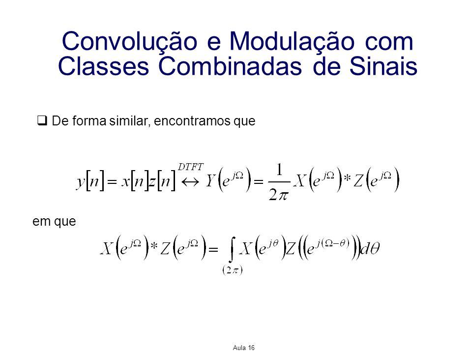 Aula 16 Convolução e Modulação com Classes Combinadas de Sinais De forma similar, encontramos que em que
