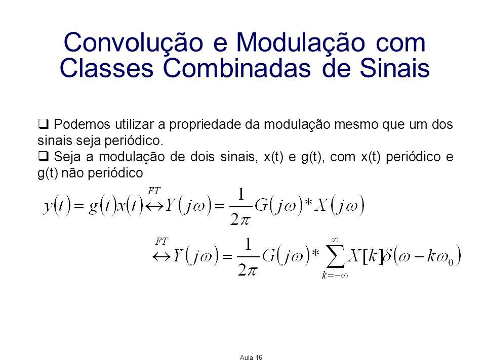 Aula 16 Convolução e Modulação com Classes Combinadas de Sinais Podemos utilizar a propriedade da modulação mesmo que um dos sinais seja periódico. Se