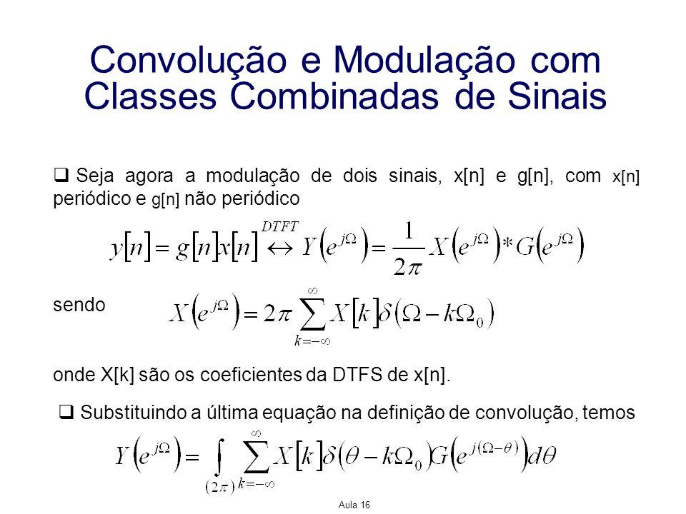 Aula 16 Convolução e Modulação com Classes Combinadas de Sinais Seja agora a modulação de dois sinais, x[n] e g[n], com x[n] periódico e g[n] não peri