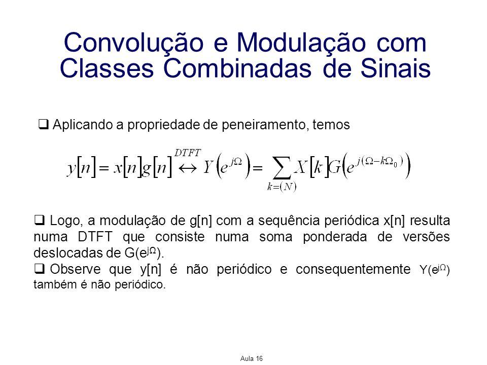Aula 16 Convolução e Modulação com Classes Combinadas de Sinais Aplicando a propriedade de peneiramento, temos Logo, a modulação de g[n] com a sequênc