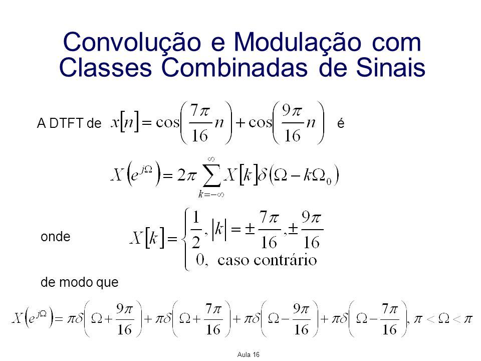 Aula 16 Convolução e Modulação com Classes Combinadas de Sinais A DTFT de é onde de modo que