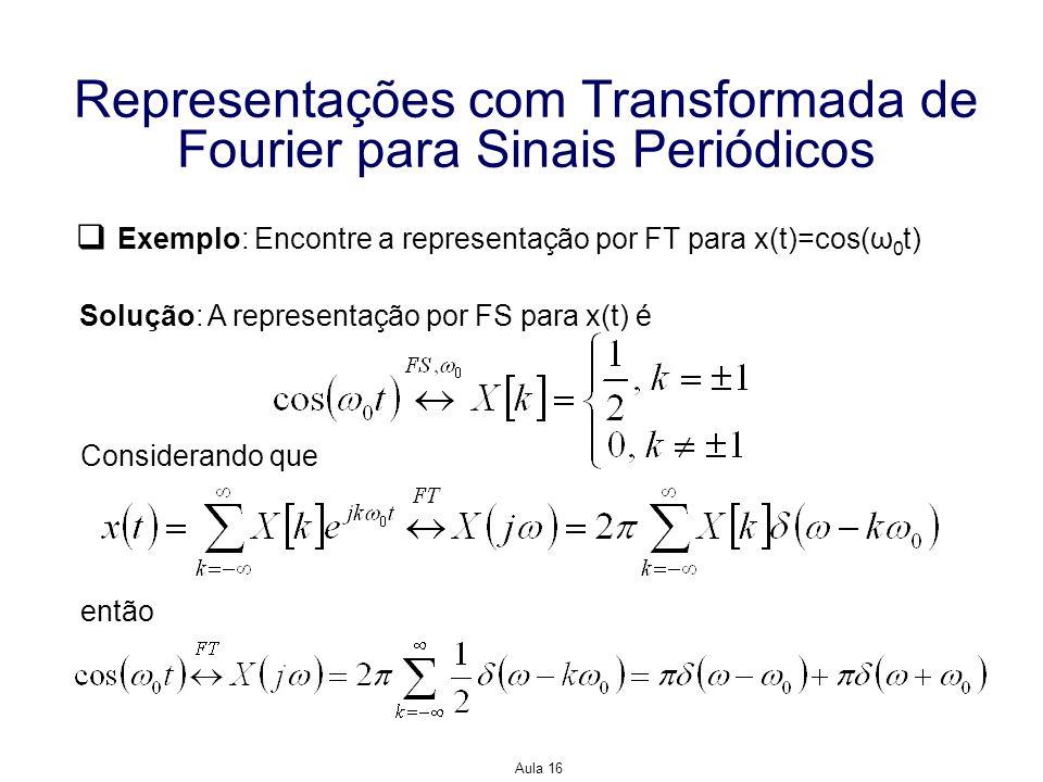 Aula 16 Representações com Transformada de Fourier para Sinais Periódicos Exemplo: Encontre a representação por FT para x(t)=cos(ω 0 t) Solução: A rep