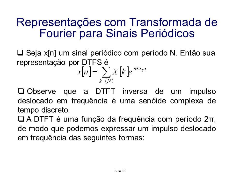 Aula 16 Representações com Transformada de Fourier para Sinais Periódicos Expressando um período Usando uma série finita de impulso deslocados e separados entre si por um intervalo de 2π, de modo a obter a função com período 2π