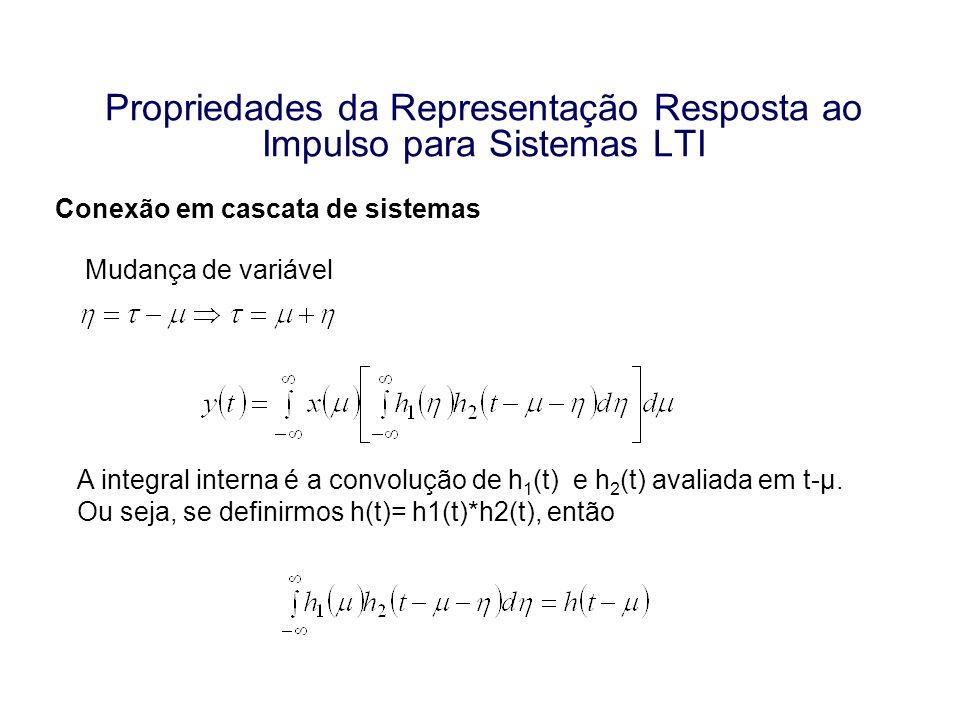 Propriedades da Representação Resposta ao Impulso para Sistemas LTI Conexão em cascata de sistemas Mudança de variável A integral interna é a convoluç