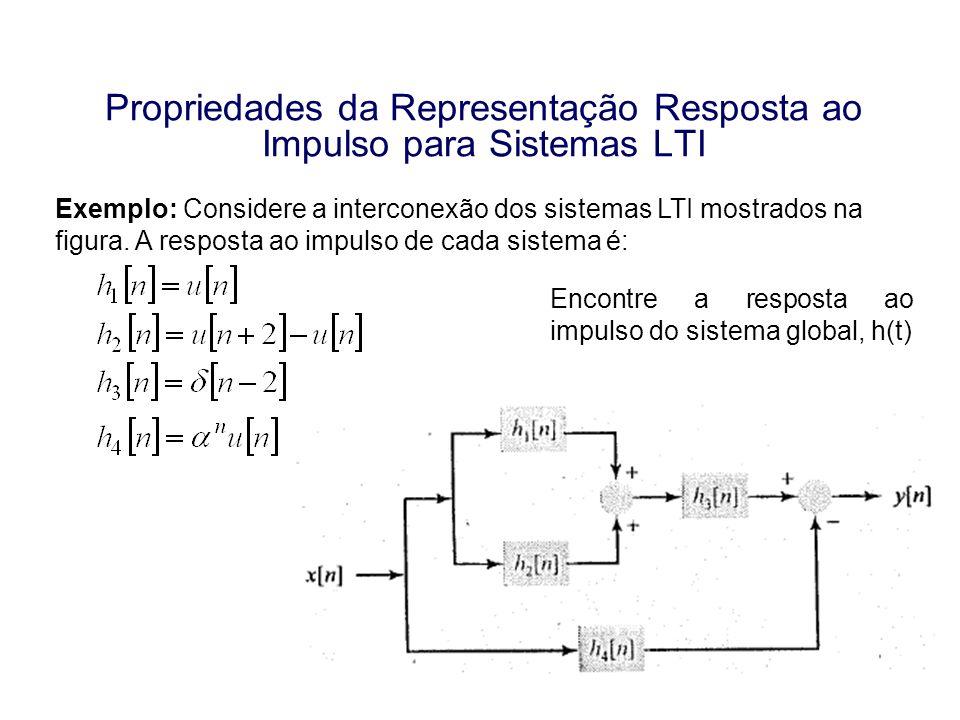Propriedades da Representação Resposta ao Impulso para Sistemas LTI Exemplo: Considere a interconexão dos sistemas LTI mostrados na figura. A resposta