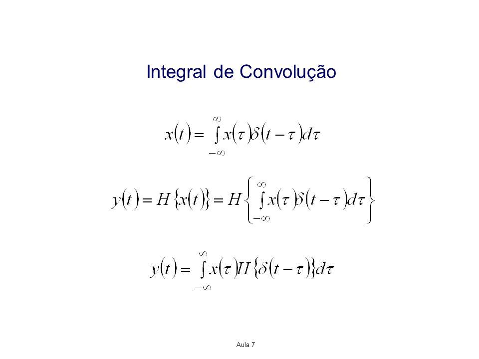 Propriedades da Representação Resposta ao Impulso para Sistemas LTI Conexão em cascata de sistemas Mudança de variável A integral interna é a convolução de h 1 (t) e h 2 (t) avaliada em t-μ.
