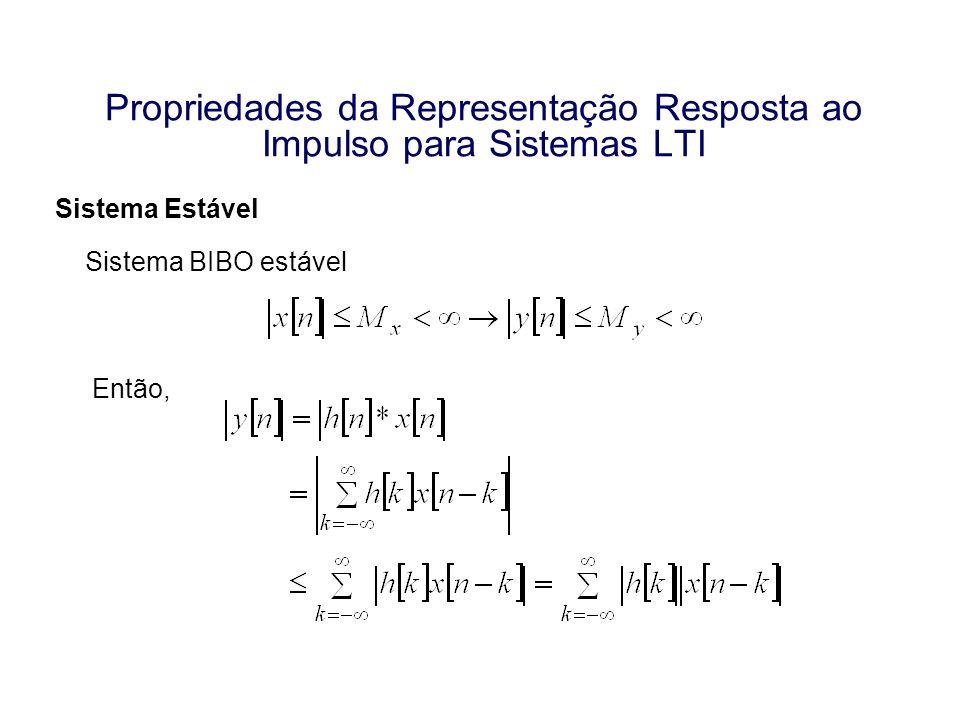 Propriedades da Representação Resposta ao Impulso para Sistemas LTI Sistema Estável Sistema BIBO estável Então,