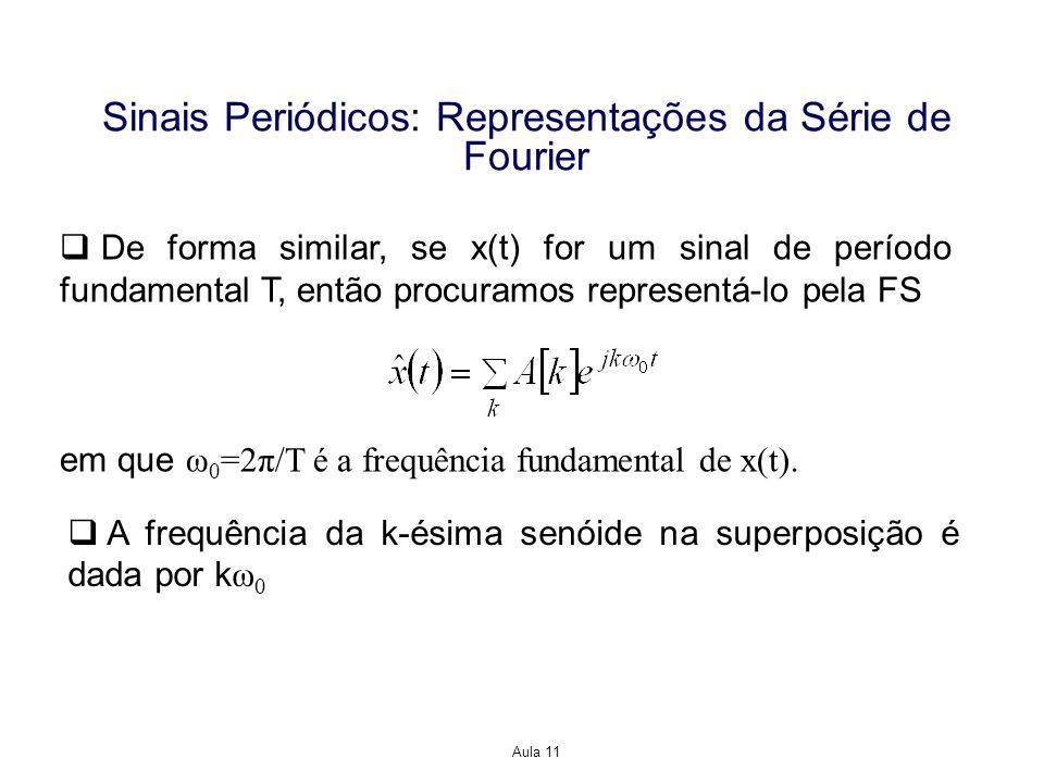 Aula 11 Sinais Periódicos: Representações da Série de Fourier De forma similar, se x(t) for um sinal de período fundamental T, então procuramos representá-lo pela FS em que ω 0 =2π/T é a frequência fundamental de x(t).