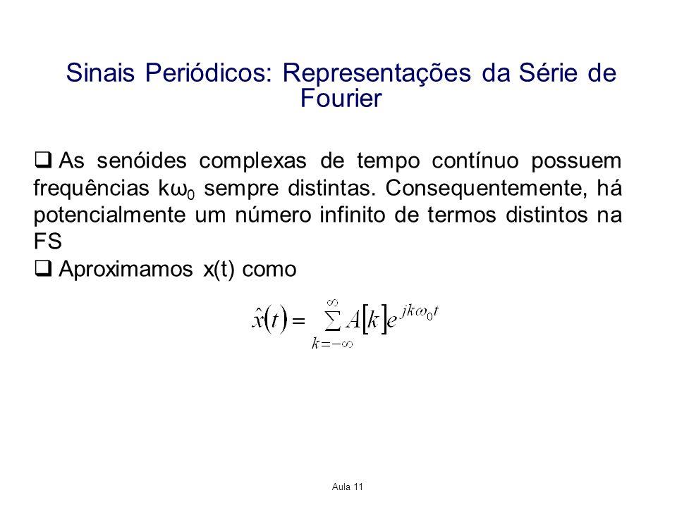 Aula 11 Sinais Periódicos: Representações da Série de Fourier As senóides complexas de tempo contínuo possuem frequências kω 0 sempre distintas.