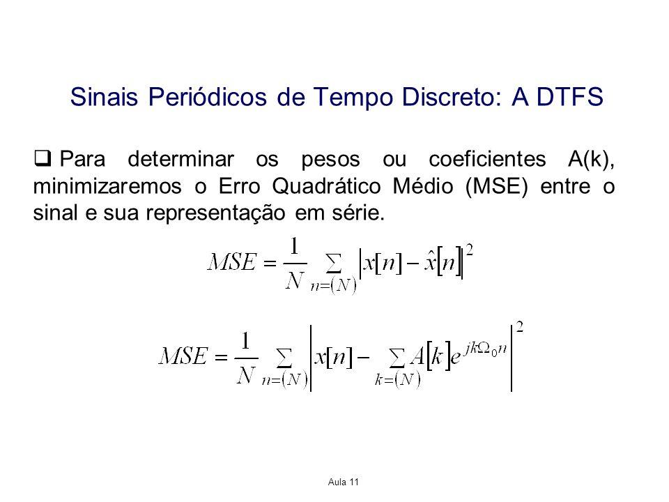 Aula 11 Sinais Periódicos de Tempo Discreto: A DTFS Para determinar os pesos ou coeficientes A(k), minimizaremos o Erro Quadrático Médio (MSE) entre o sinal e sua representação em série.