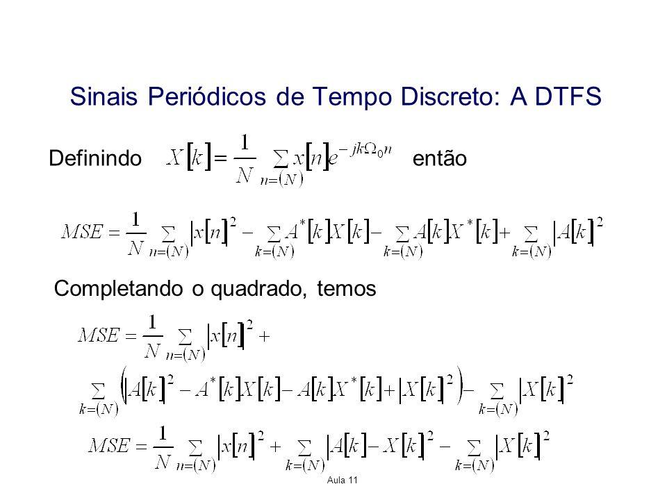 Aula 11 Definindo então Completando o quadrado, temos Sinais Periódicos de Tempo Discreto: A DTFS