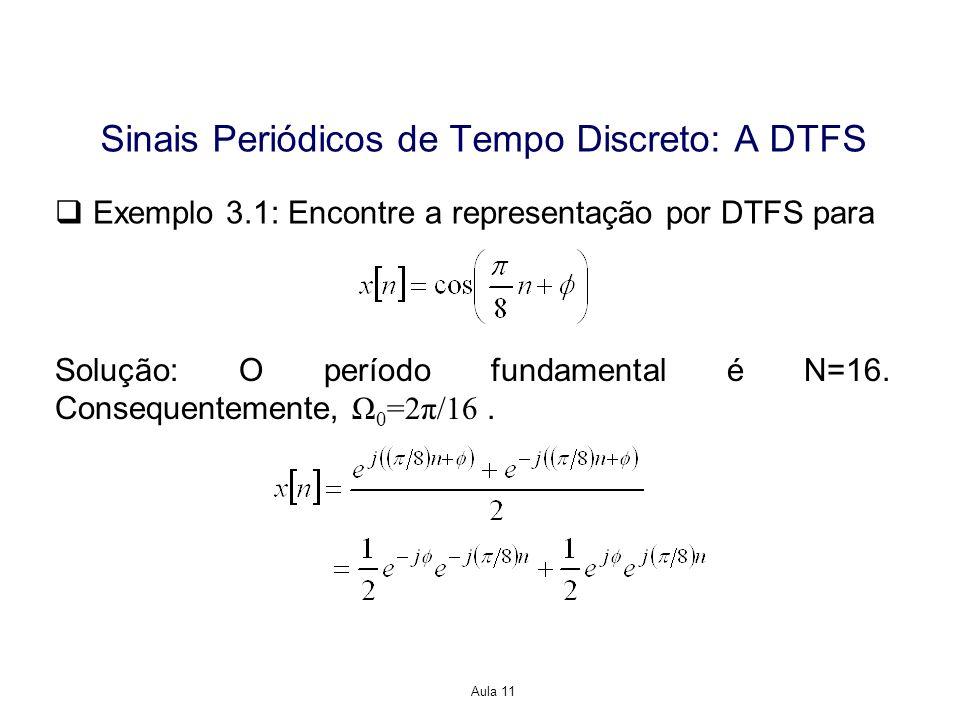 Aula 11 Exemplo 3.1: Encontre a representação por DTFS para Solução: O período fundamental é N=16.