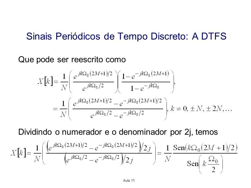 Aula 11 Que pode ser reescrito como Sinais Periódicos de Tempo Discreto: A DTFS Dividindo o numerador e o denominador por 2j, temos