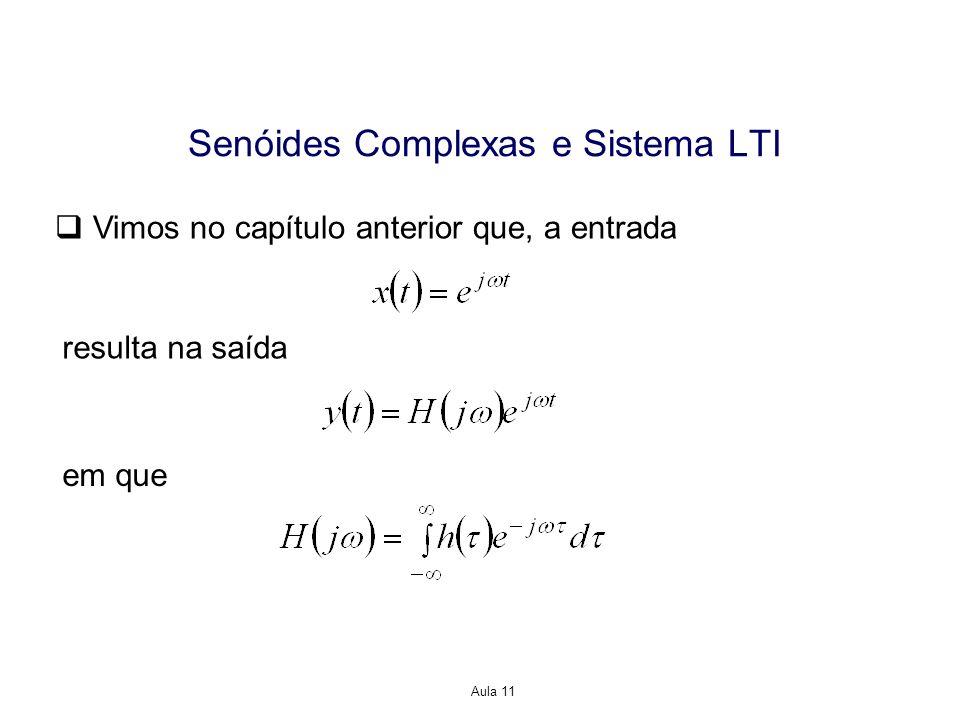 Aula 11 Senóides Complexas e Sistema LTI Vimos no capítulo anterior que, a entrada resulta na saída em que