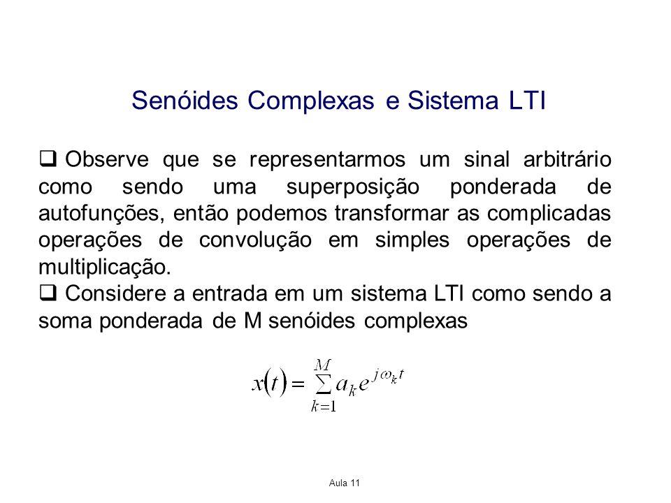Aula 11 Senóides Complexas e Sistema LTI Observe que se representarmos um sinal arbitrário como sendo uma superposição ponderada de autofunções, então podemos transformar as complicadas operações de convolução em simples operações de multiplicação.