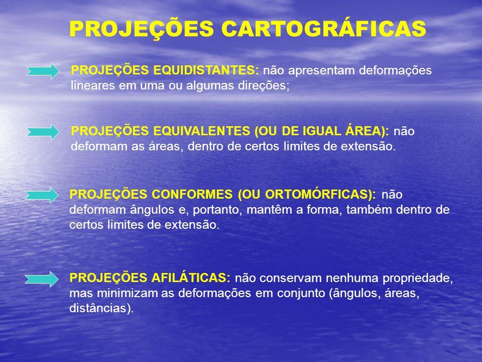 PROJEÇÕES CARTOGRÁFICAS PROJEÇÕES EQUIDISTANTES: não apresentam deformações lineares em uma ou algumas direções; PROJEÇÕES EQUIVALENTES (OU DE IGUAL Á