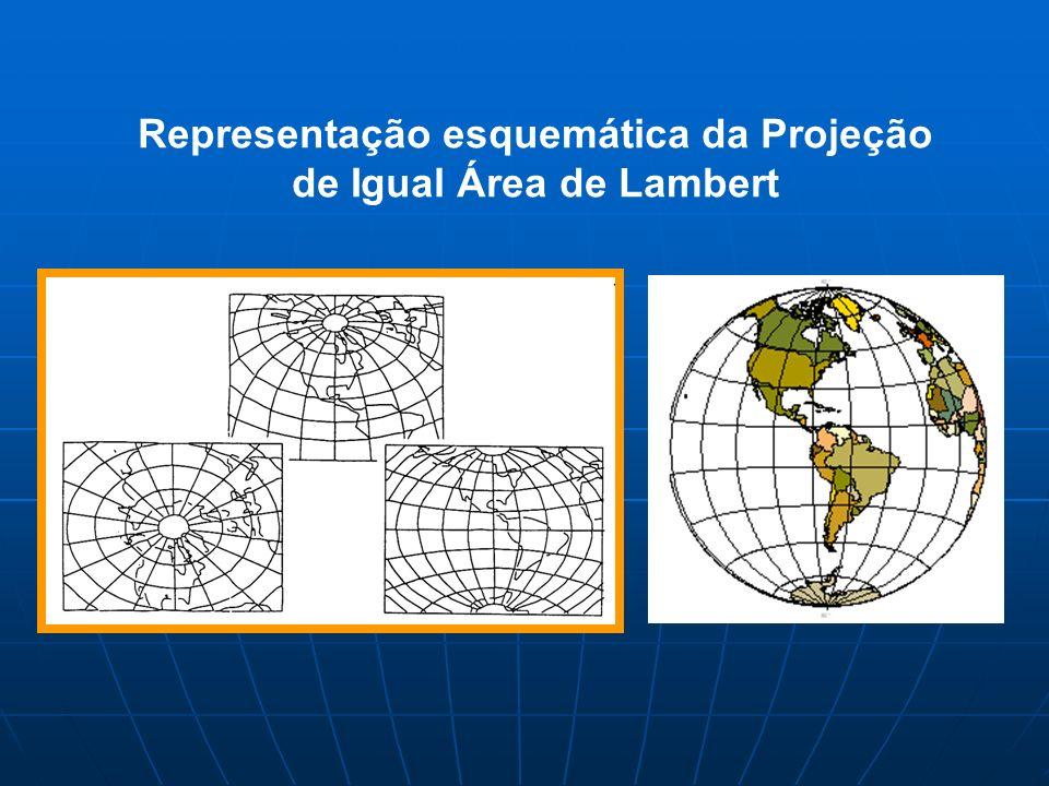 Representação esquemática da Projeção de Igual Área de Lambert