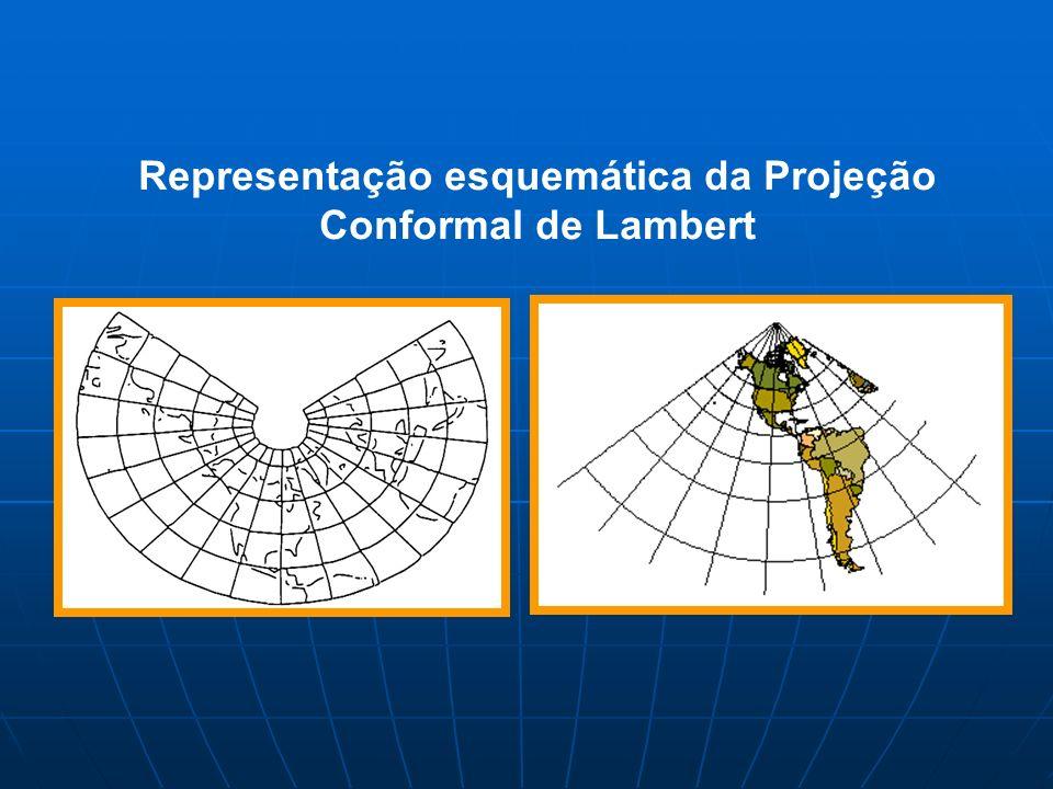Representação esquemática da Projeção Conformal de Lambert
