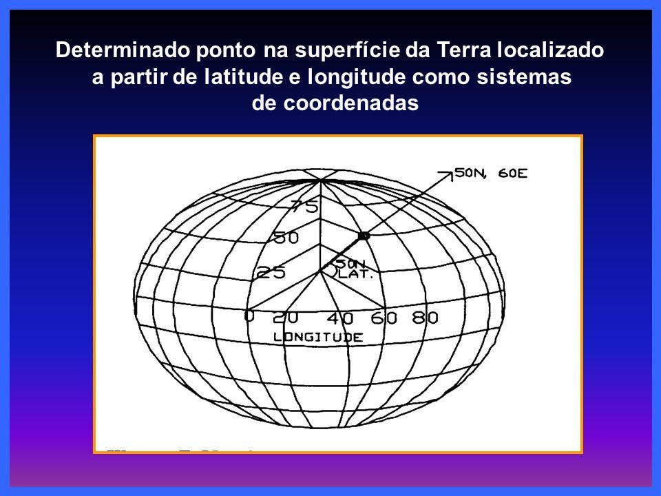 Determinado ponto na superfície da Terra localizado a partir de latitude e longitude como sistemas de coordenadas