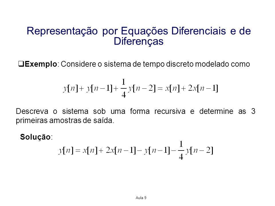 Aula 9 Representação por Equações Diferenciais e de Diferenças Exemplo: Considere o sistema de tempo discreto modelado como Descreva o sistema sob uma forma recursiva e determine as 3 primeiras amostras de saída.