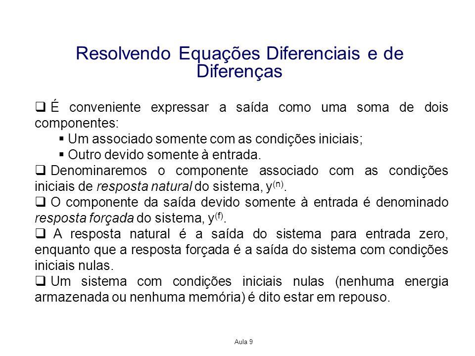 Aula 9 Resolvendo Equações Diferenciais e de Diferenças É conveniente expressar a saída como uma soma de dois componentes: Um associado somente com as condições iniciais; Outro devido somente à entrada.