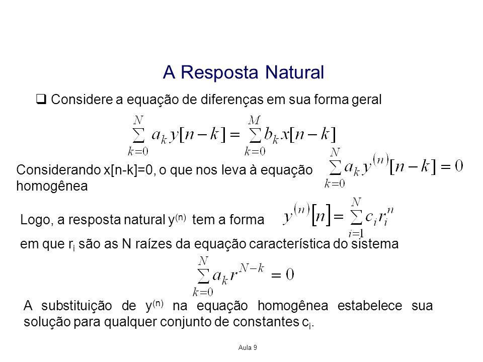 Aula 9 A Resposta Natural Considere a equação de diferenças em sua forma geral Considerando x[n-k]=0, o que nos leva à equação homogênea Logo, a respo