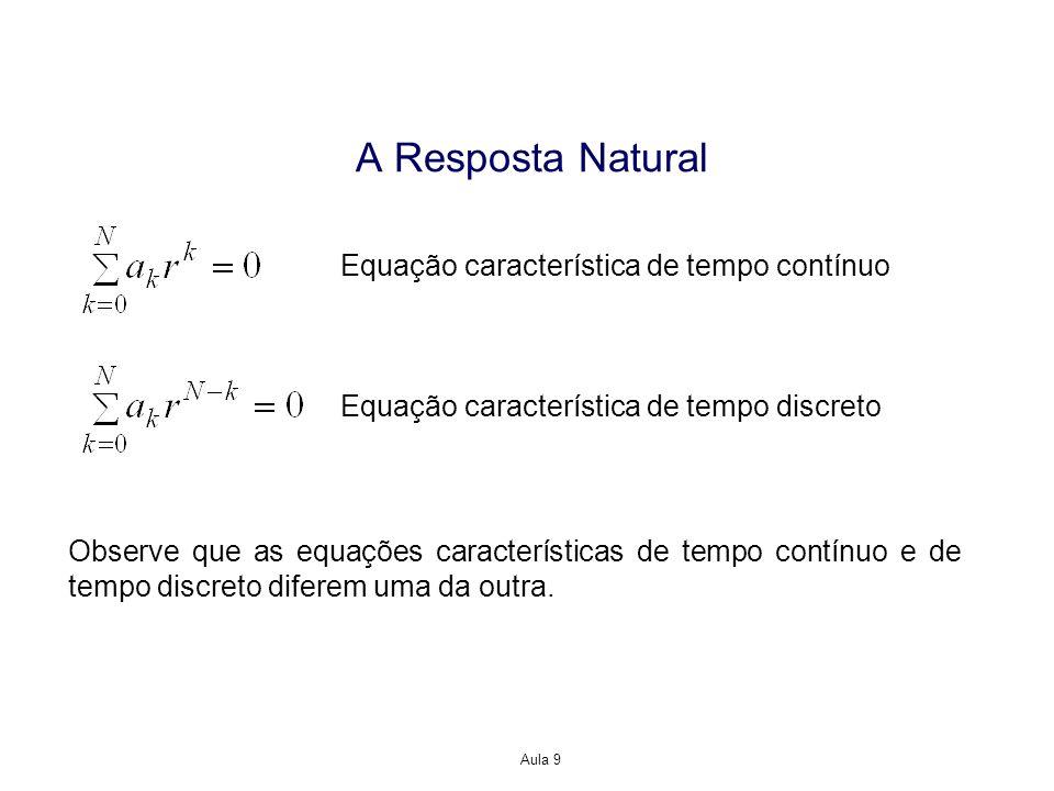 Aula 9 A Resposta Natural Observe que as equações características de tempo contínuo e de tempo discreto diferem uma da outra. Equação característica d