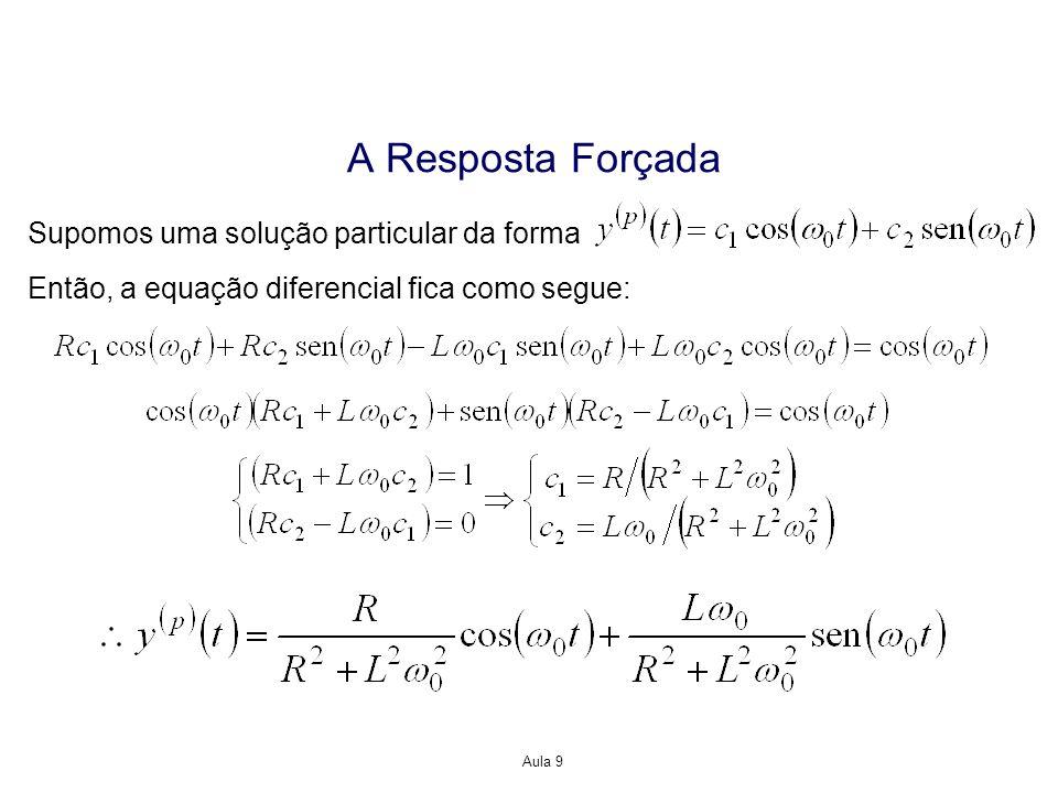 Aula 9 A Resposta Forçada Supomos uma solução particular da forma Então, a equação diferencial fica como segue: