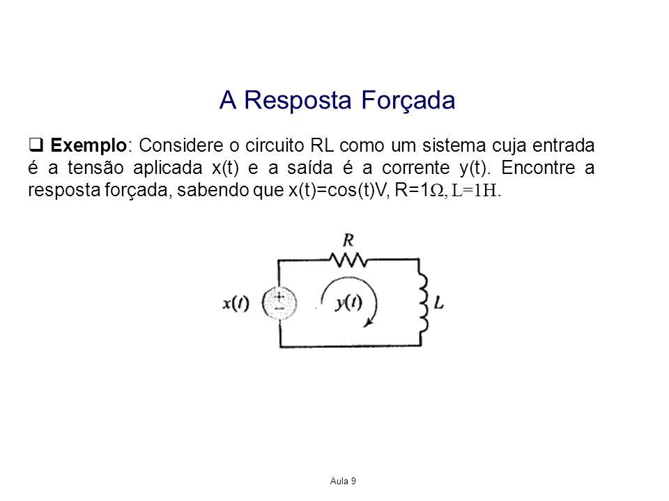 Aula 9 A Resposta Forçada Exemplo: Considere o circuito RL como um sistema cuja entrada é a tensão aplicada x(t) e a saída é a corrente y(t). Encontre