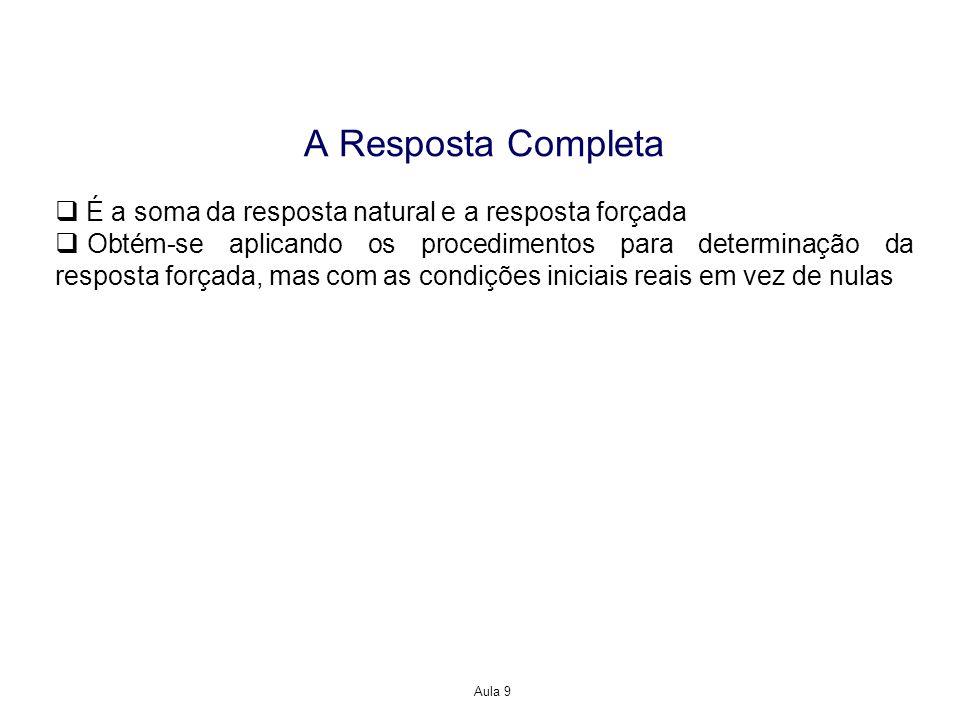 Aula 9 A Resposta Completa É a soma da resposta natural e a resposta forçada Obtém-se aplicando os procedimentos para determinação da resposta forçada, mas com as condições iniciais reais em vez de nulas
