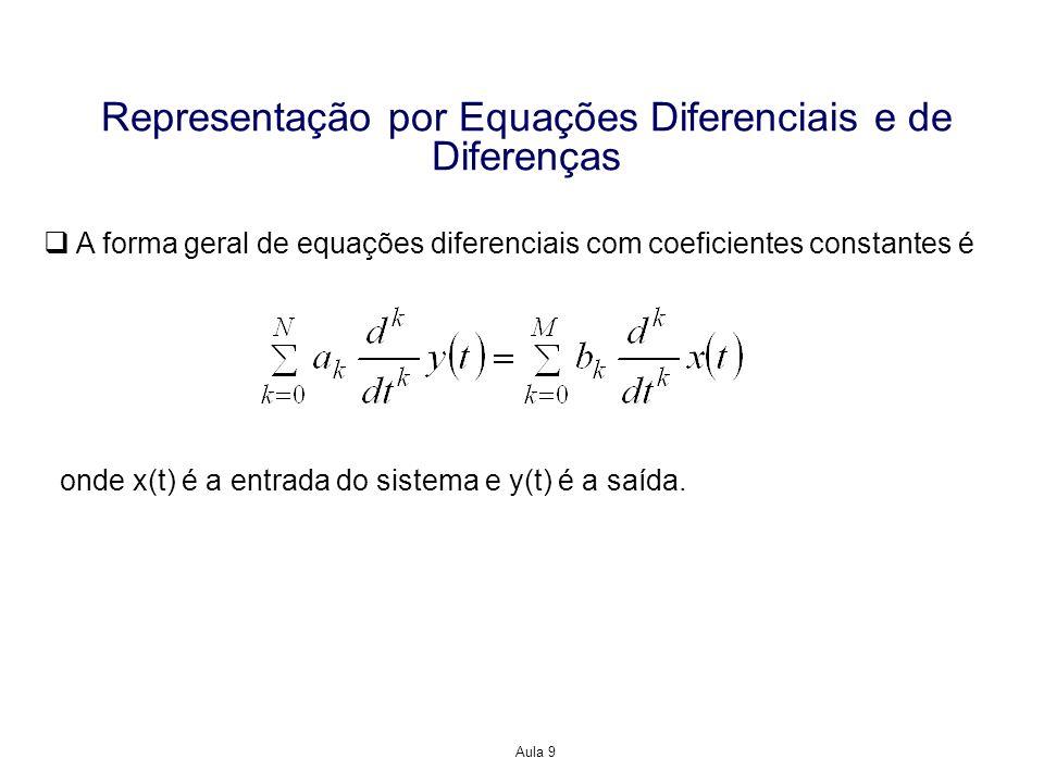Aula 9 Representação por Equações Diferenciais e de Diferenças A forma geral de equações de diferenças com coeficientes constantes é similar, mas com as derivadas substituídas por valores retardados da entrada x[n] e da saída y[n] onde x[k] é a entrada do sistema e y[k] é a saída.
