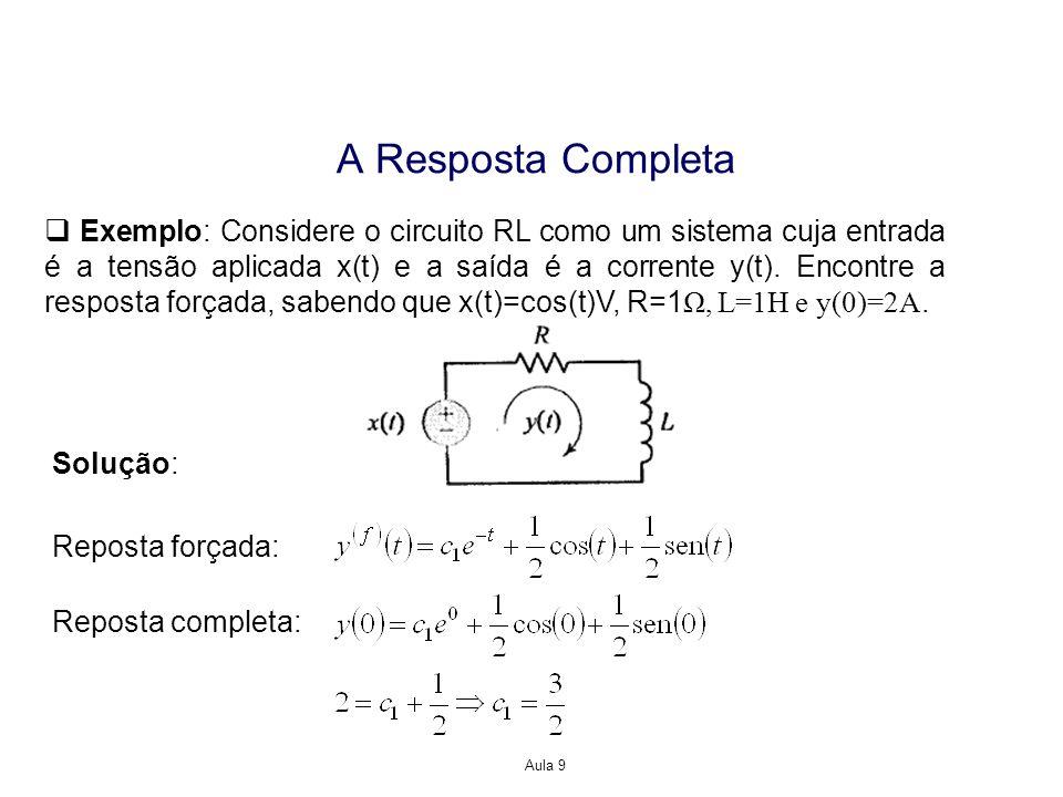 Aula 9 A Resposta Completa Exemplo: Considere o circuito RL como um sistema cuja entrada é a tensão aplicada x(t) e a saída é a corrente y(t). Encontr