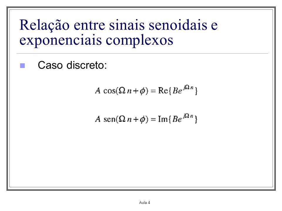 Aula 4 Relação entre sinais senoidais e exponenciais complexos Caso discreto: