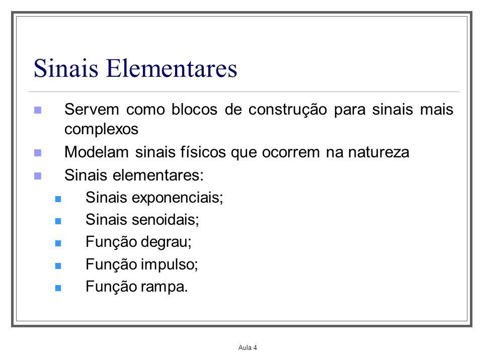 Aula 4 Sinais Elementares Servem como blocos de construção para sinais mais complexos Modelam sinais físicos que ocorrem na natureza Sinais elementare