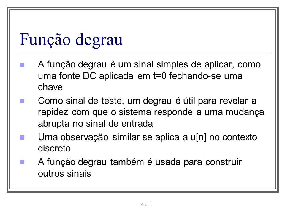 Aula 4 Função degrau A função degrau é um sinal simples de aplicar, como uma fonte DC aplicada em t=0 fechando-se uma chave Como sinal de teste, um de