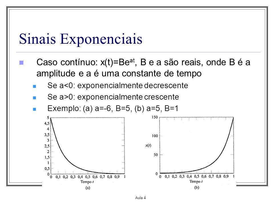 Aula 4 Sinais Exponenciais Caso contínuo: x(t)=Be at, B e a são reais, onde B é a amplitude e a é uma constante de tempo Se a<0: exponencialmente decr
