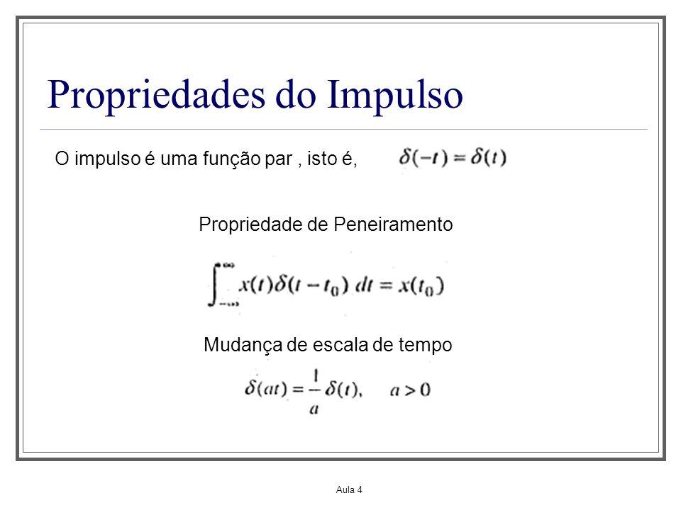Aula 4 Propriedades do Impulso O impulso é uma função par, isto é, Propriedade de Peneiramento Mudança de escala de tempo