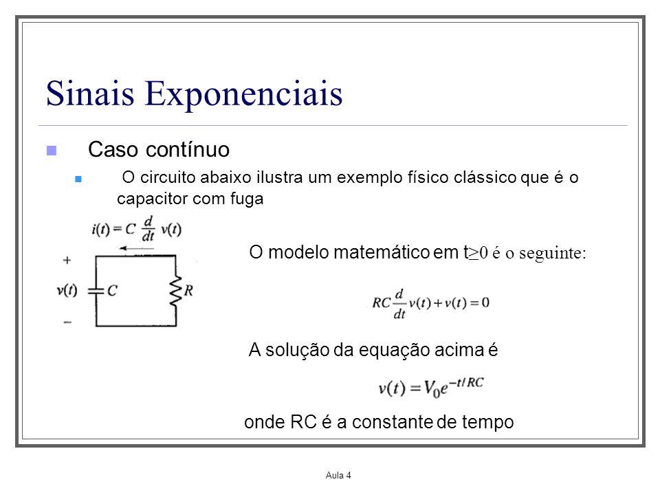 Aula 4 Sinais Exponenciais Caso contínuo O circuito abaixo ilustra um exemplo físico clássico que é o capacitor com fuga O modelo matemático em t 0 é