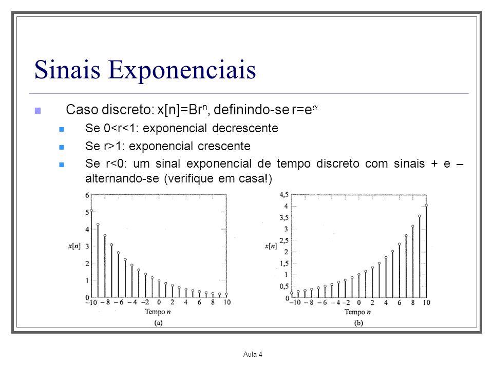 Aula 4 Sinais Exponenciais Caso discreto: x[n]=Br n, definindo-se r=e Se 0<r<1: exponencial decrescente Se r>1: exponencial crescente Se r<0: um sinal