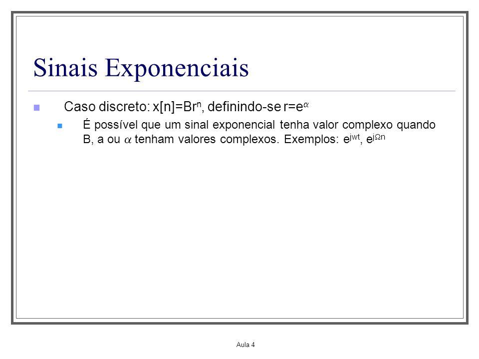 Aula 4 Sinais Exponenciais Caso discreto: x[n]=Br n, definindo-se r=e É possível que um sinal exponencial tenha valor complexo quando B, a ou tenham v