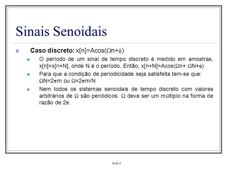 Aula 4 Sinais Senoidais Caso discreto: x[n]=Acos( n+ ) O período de um sinal de tempo discreto é medido em amostras, x[n]=x[n+N], onde N é o período.