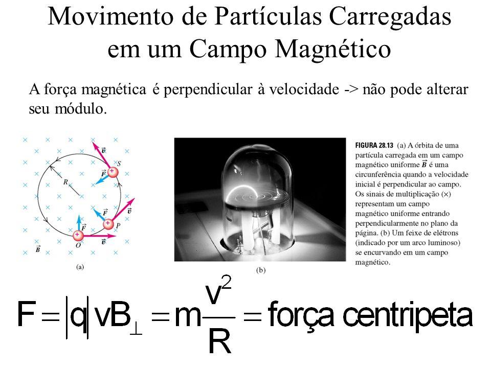 Movimento de Partículas Carregadas em um Campo Magnético A força magnética é perpendicular à velocidade -> não pode alterar seu módulo.
