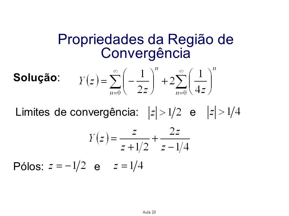 Aula 20 Propriedades da Região de Convergência Solução: Limites de convergência: e Pólos: e